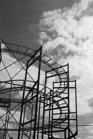 roller: Black and white image of roller coaster