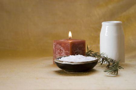 purify: Home spa: candle, sea salt, rosemary, oil Stock Photo