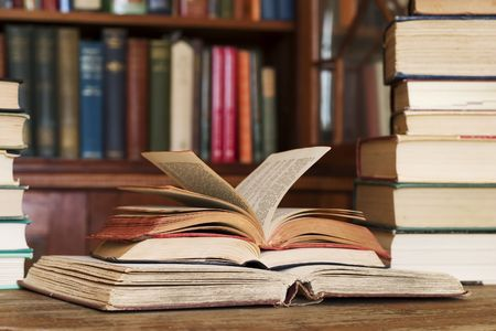 Stack of books at the library (titles not visible) Stock Photo - 1328885