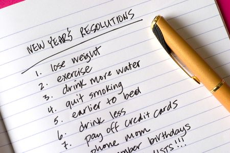 resolutions: New Years Resolutions, long list of items