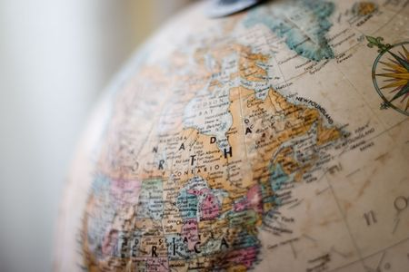 globetrotter: Globe, very old, selective focus over midwest Stock Photo
