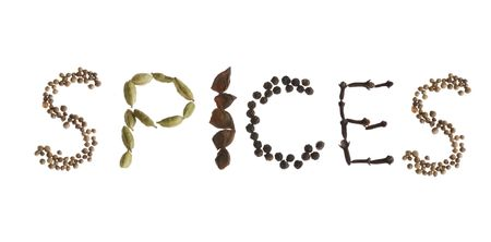 Word spices spelled out in spices, mustard seed, black peppercorn, coriander, anise, and cloves Stock Photo - 1921839