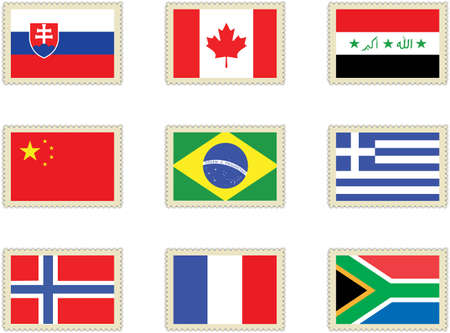 stamps flags 3 Vector