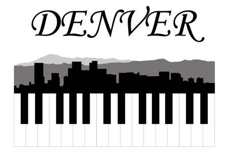 colorado skyline: Denver music Illustration