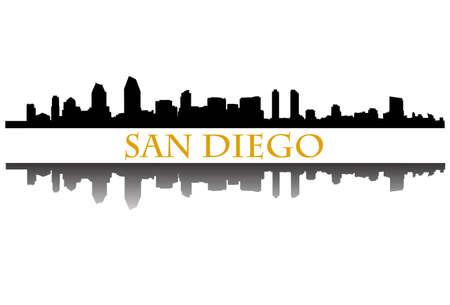 サンディエゴのスカイライン  イラスト・ベクター素材