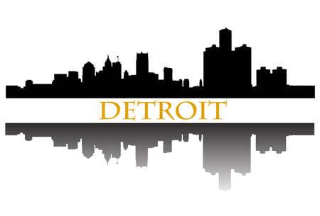Detroit skyline Stock Illustratie