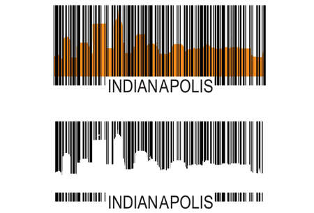City of Indianapolis high rise buildings skyline with racing finish flags Vector