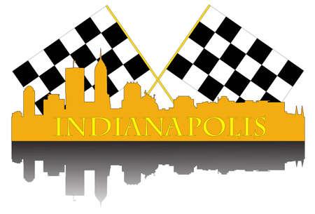 Stad van Indianapolis hoogbouw skyline met race afwerking vlaggen Stock Illustratie