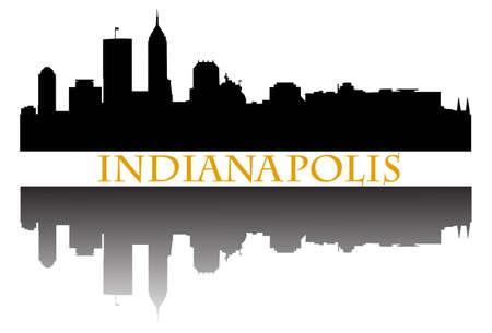 Stad van Indianapolis hoogbouw skyline met racen afwerking vlaggen
