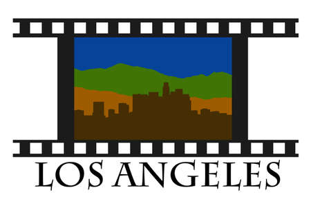 Los Angeles, skyline, downtown, city, high-rise buildings, California, shopping, real estate, travel, barcode, LA, hollywood, oscars, movies, offices, business Stock Vector - 10381233