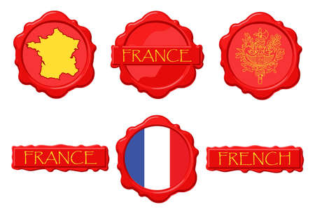 France wax stamps with flag, seal, map and name. Ilustracja