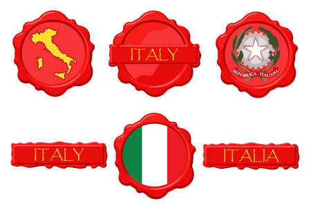 Italy wax stamps with flag, seal, map and name.
