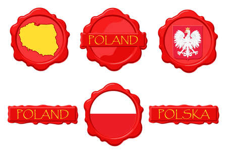 Poland wax stamps with flag, seal, map and name. Ilustrace