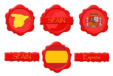 Spain wax stamps with flag, seal, map and name. Ilustração