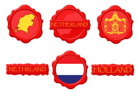 dutch flag: Netherland wax stamps with flag, seal, map and name. Illustration