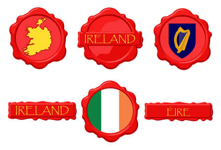 ireland flag: Ireland wax stamps with flag, seal, map and name.