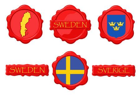 Sweden wax stamps with flag, seal, map and name.
