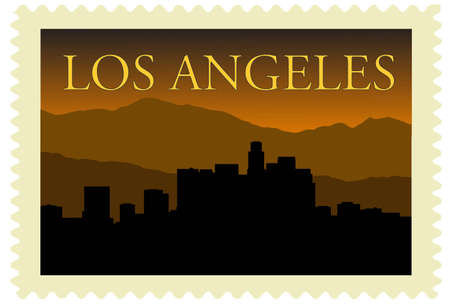 Los Angeles city high-rise buildings skyline on stamp Stock Vector - 10552337