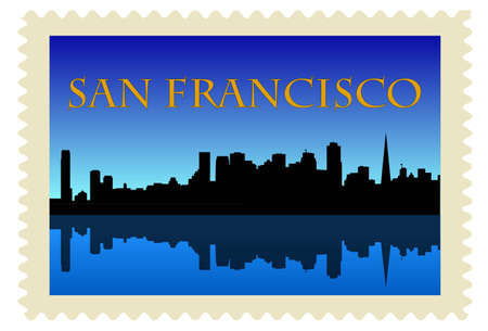 San Francisco high-rise buildings skyline on stamp Stock Vector - 10552334