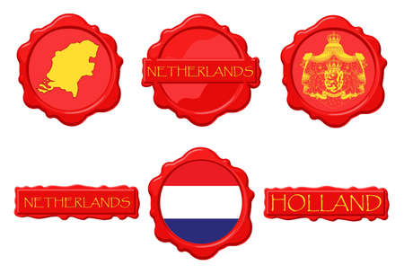 Netherlands wax stamps with flag, seal, map and name.