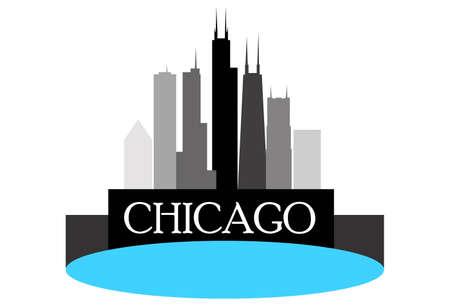Chicago high rise buildings skyline Illustration
