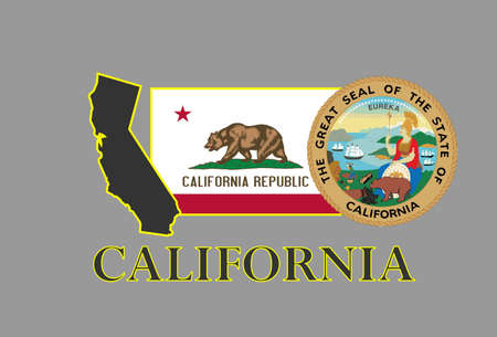 california state: California state map, flag, seal and name. Illustration
