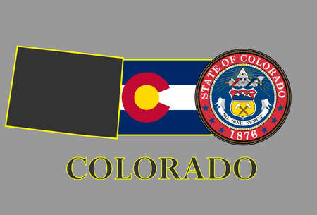 colorado: Colorado state map, flag, seal and name.