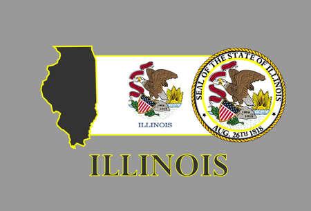 イリノイ州の地図、旗、シールおよび名前