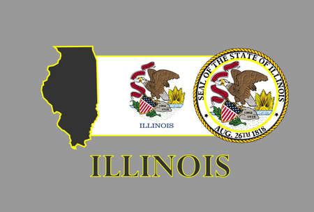 Illinois state map, flag, seal and name. Vector