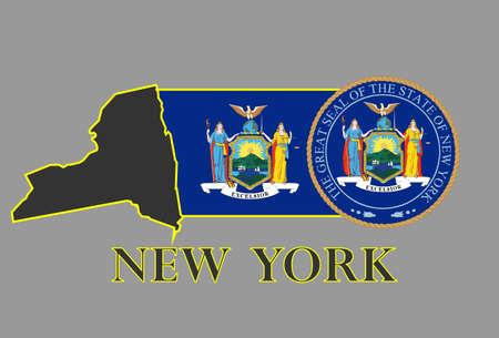 De staat New York kaart, vlag, afdichting en naam.