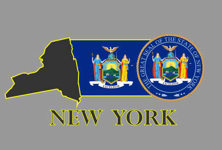 island state: New York state map, flag, seal and name. Illustration