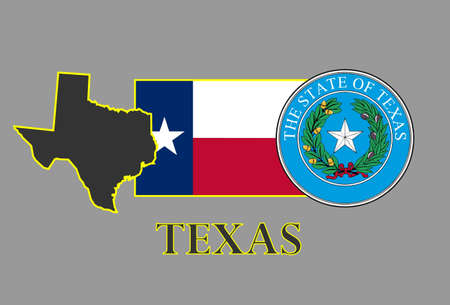 austin: Texas state map, flag, seal and name.