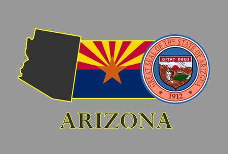 Arizona state map, flag, seal and name. Illustration