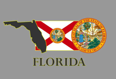 Florida state map, flag, seal and name. Vector
