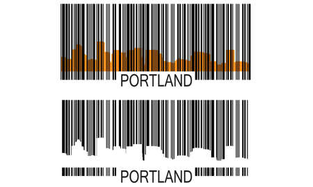 portland: City of Portland barcode with high-rise buildings skyline