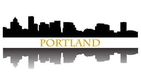 ポートランド市の高層ビルのスカイライン  イラスト・ベクター素材