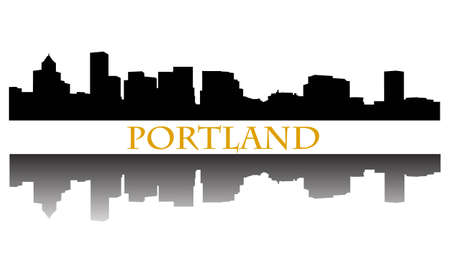 portland oregon: City of Portland high-rise buildings skyline