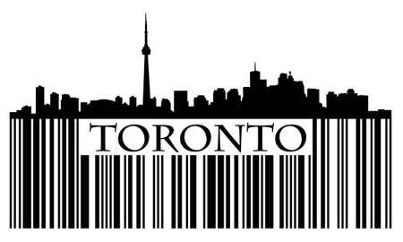 City of Toronto bar code with high rise buildings skyline