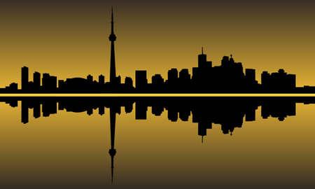 ontario: Citt� di orizzonte grattacielo edifici Toronto Vettoriali