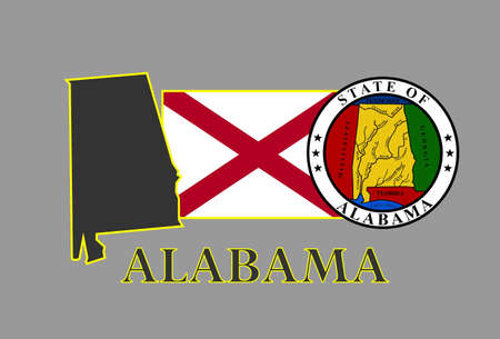 Alabama state map, flag, seal and name. Vector