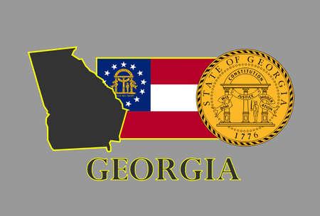 georgia: Georgia state map, flag, seal and name.
