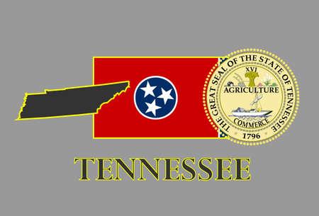 tennesse: Del estado de Tennessee mapas, banderas, sello y nombre. Vectores