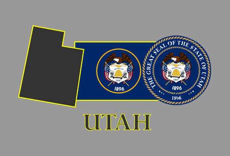 ユタ州の地図、旗、シールおよび名前  イラスト・ベクター素材
