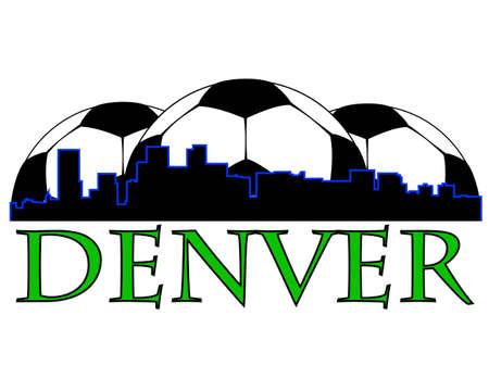 denver skyline with mountains: Denver city high-rise buildings skyline with soccer ball