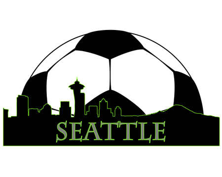 Seattle  city high-rise buildings skyline with soccer ball Stock Vector - 10954367
