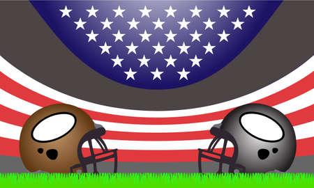 私たちと 2 つのフットボールのヘルメットは、スタジアムをフラグです。  イラスト・ベクター素材