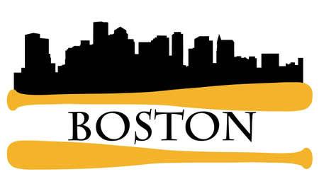 City of Boston high-rise buildings skyline with baseball bats Vector