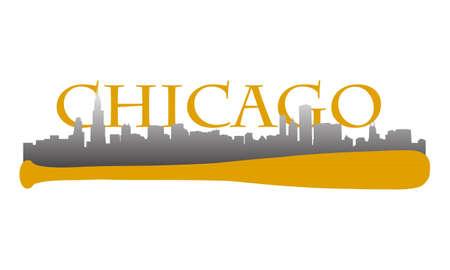 Chicago hoogbouw skyline met honkbalknuppel Stock Illustratie
