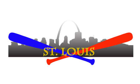 City of St. Louis high-rise buildings skyline with baseball bats