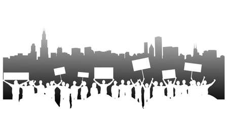 protest: Demonstration with signs and tents occupying Chicago downtown. Illustration